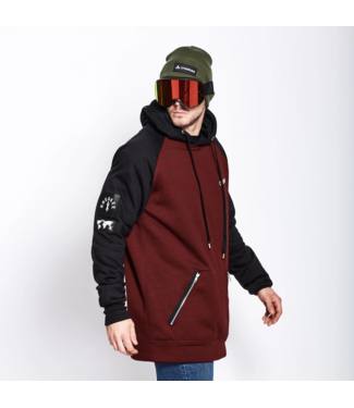 Oneskee Sudadera con capucha impermeable para hombre Borgoña / Negra