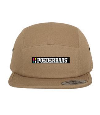 Poederbaas Gorra de 5 paneles / snapback con emblema - Beige