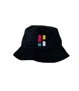 Poederbaas Kleurrijk PB Logo Bucket Hat - Zwart