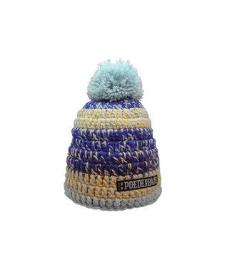 Poederbaas Colorful crochet hat - blue/purple/beige