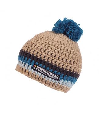 Poederbaas Striped ski hat - beige/blue