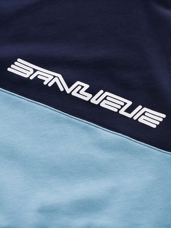 Cotton Colorblocked Sweater Blue