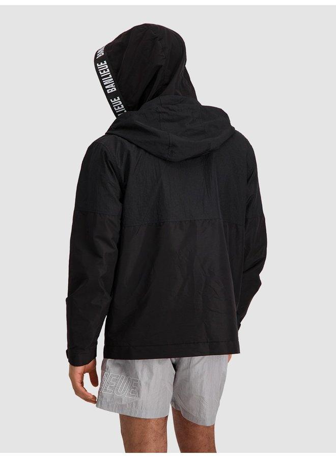Double Hooded Windrunner Black