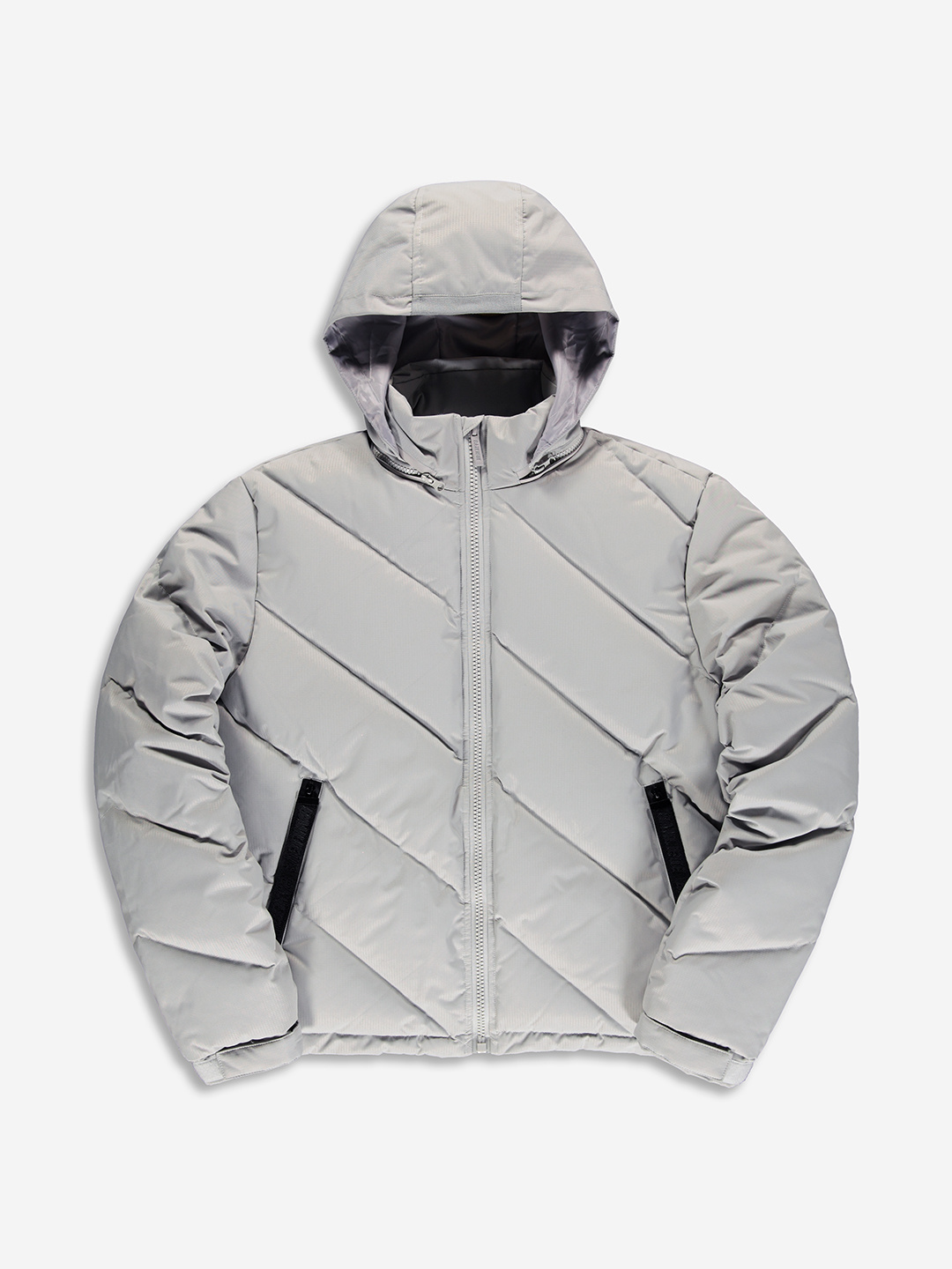 DIAGONAL PUFFER JACKET GREY