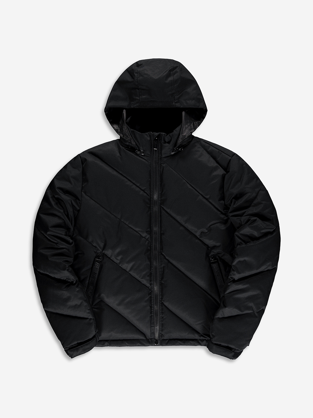 DIAGONAL PUFFER JACKET BLACK