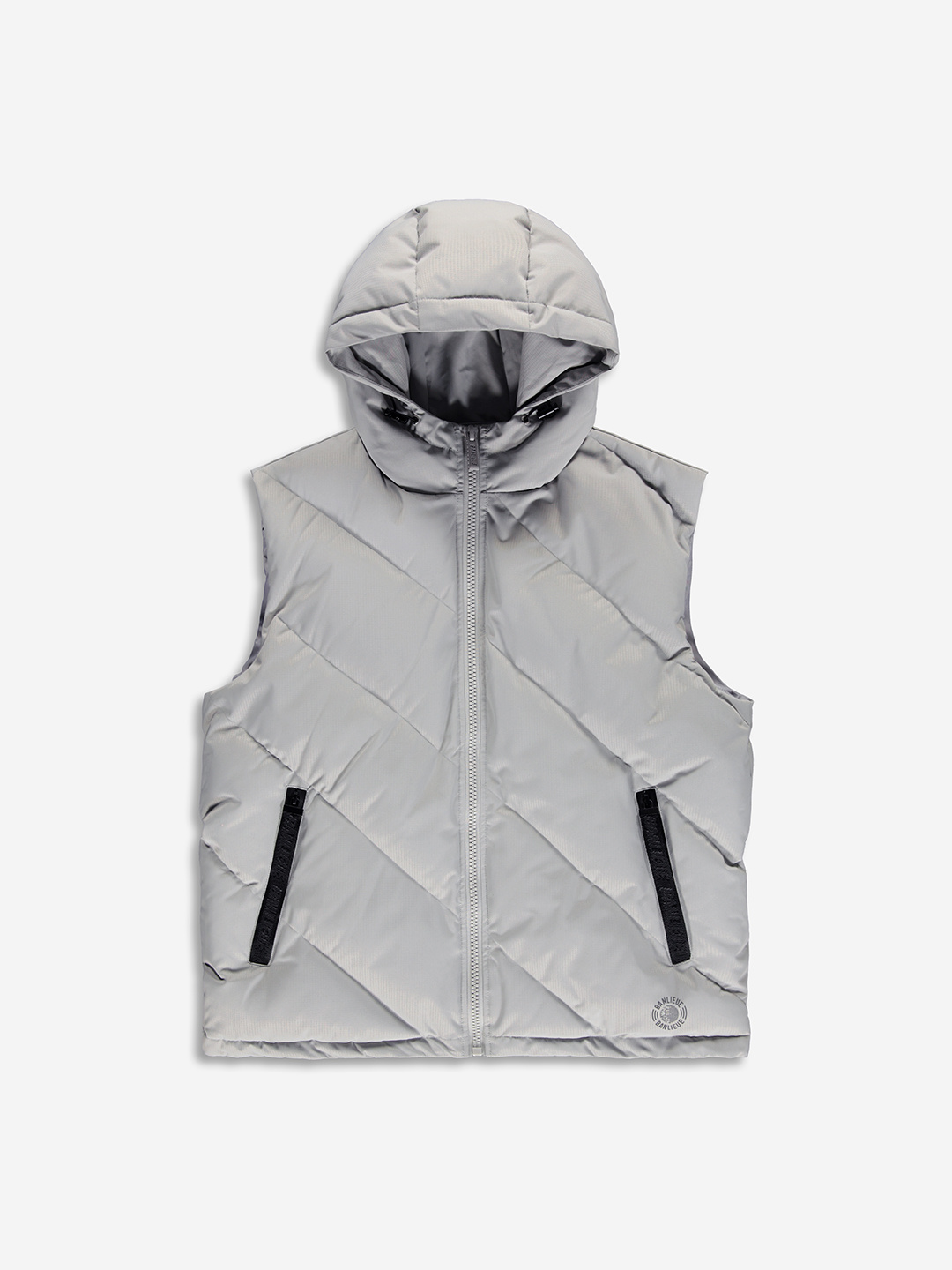 DIAGONAL PUFFER BODYWARMER GREY
