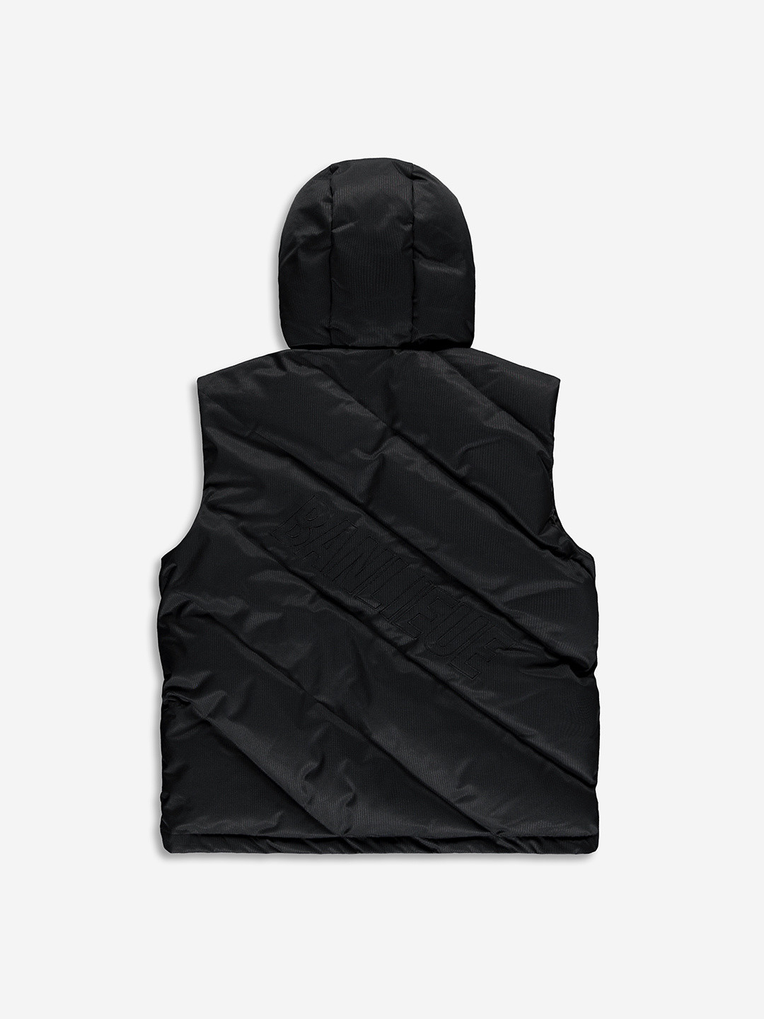 DIAGONAL PUFFER BODYWARMER BLACK