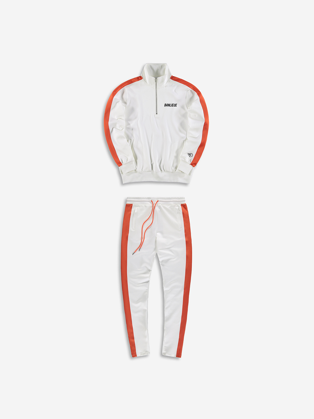 SURVÊTEMENT DEMI-ZIP BLANC / ORANGE