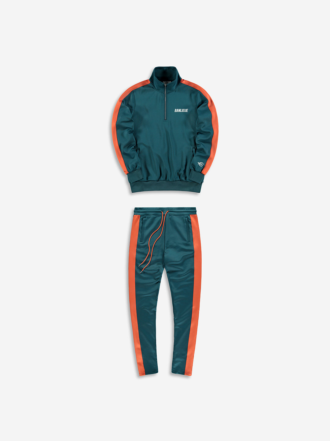 HALF ZIP TRACKSUIT ÉMERAUDE/ORANGE