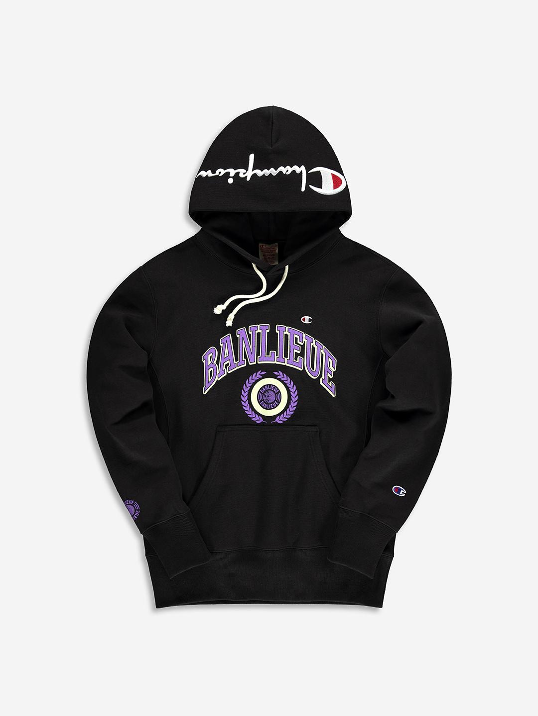 BANLIEUE X CHAMPION HOODIE BLACK