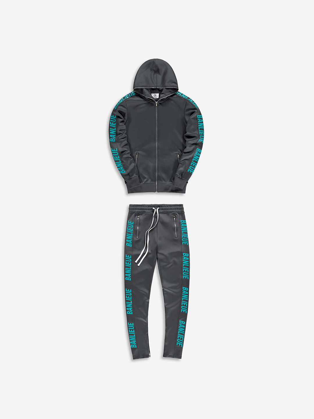FULL ZIP TRACKSUIT GREY/TURQUOISE