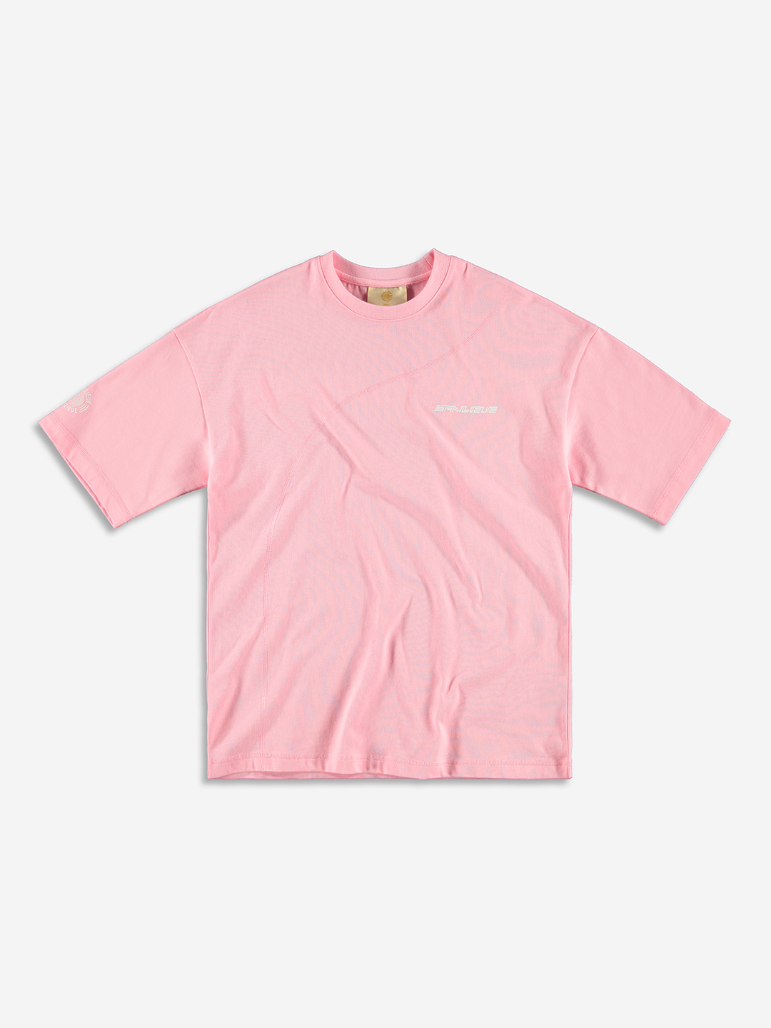 DIAGONAL STITCH OVERSIZED T-SHIRT BABY PINK