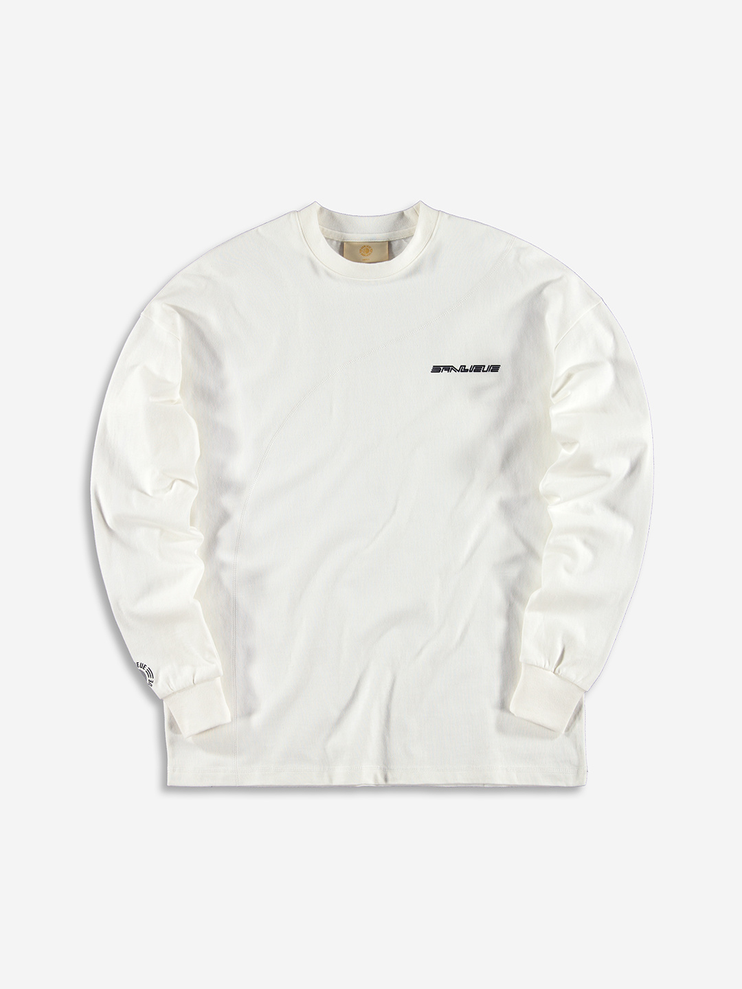 DIAGONAL STITCH OVERSIZED LONGSLEEVE WHITE