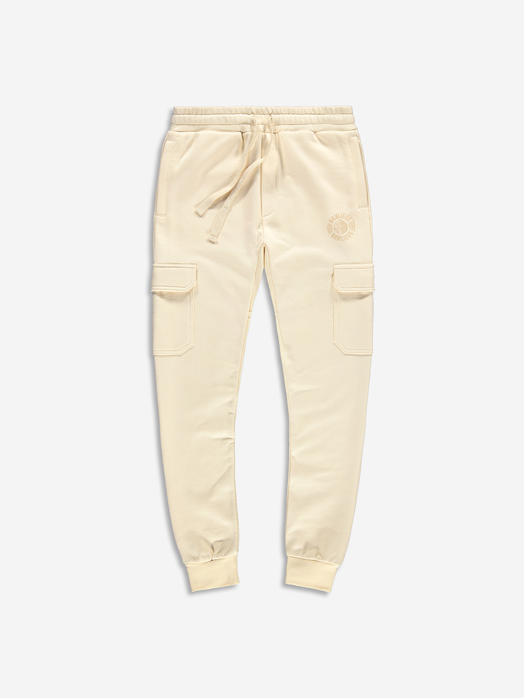 TONAL CARGO SWEATPANTS CREAM WHITE