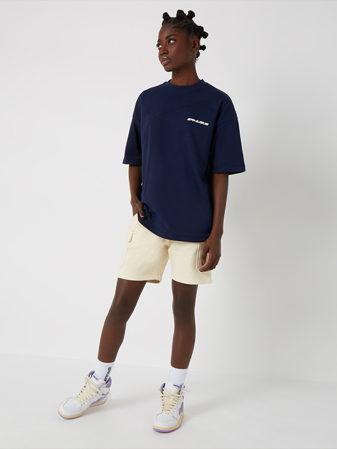 DIAGONAL STITCH OVERSIZED T-SHIRT MARINE
