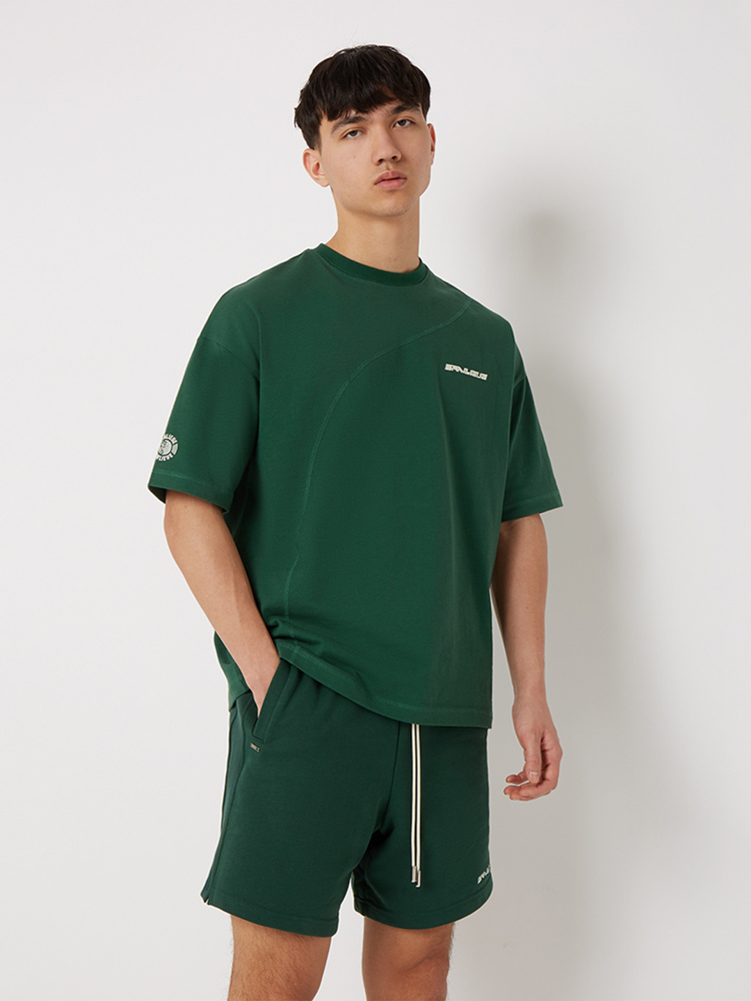DIAGONAL STITCH OVERSIZED T-SHIRT FOREST