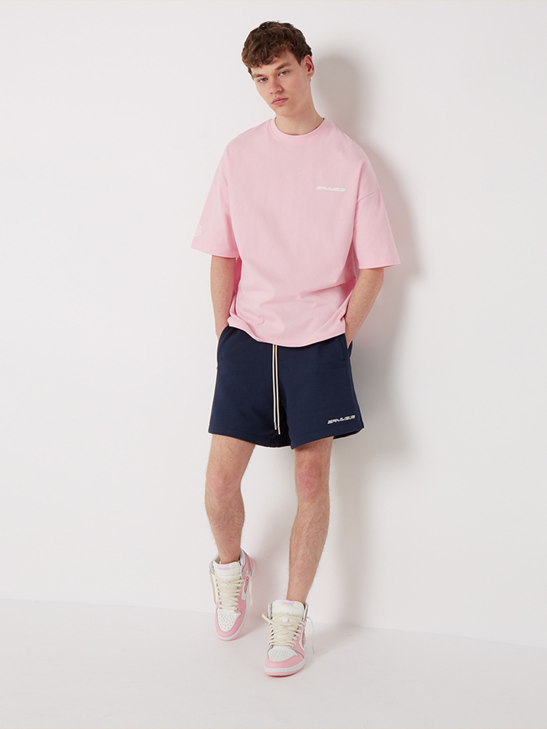 DIAGONAL STITCH OVERSIZED T-SHIRT BABY ROSE