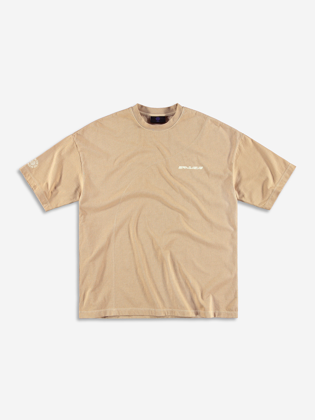 DIAGONAL STITCH OVERSIZED T-SHIRT TAUPE BROWN