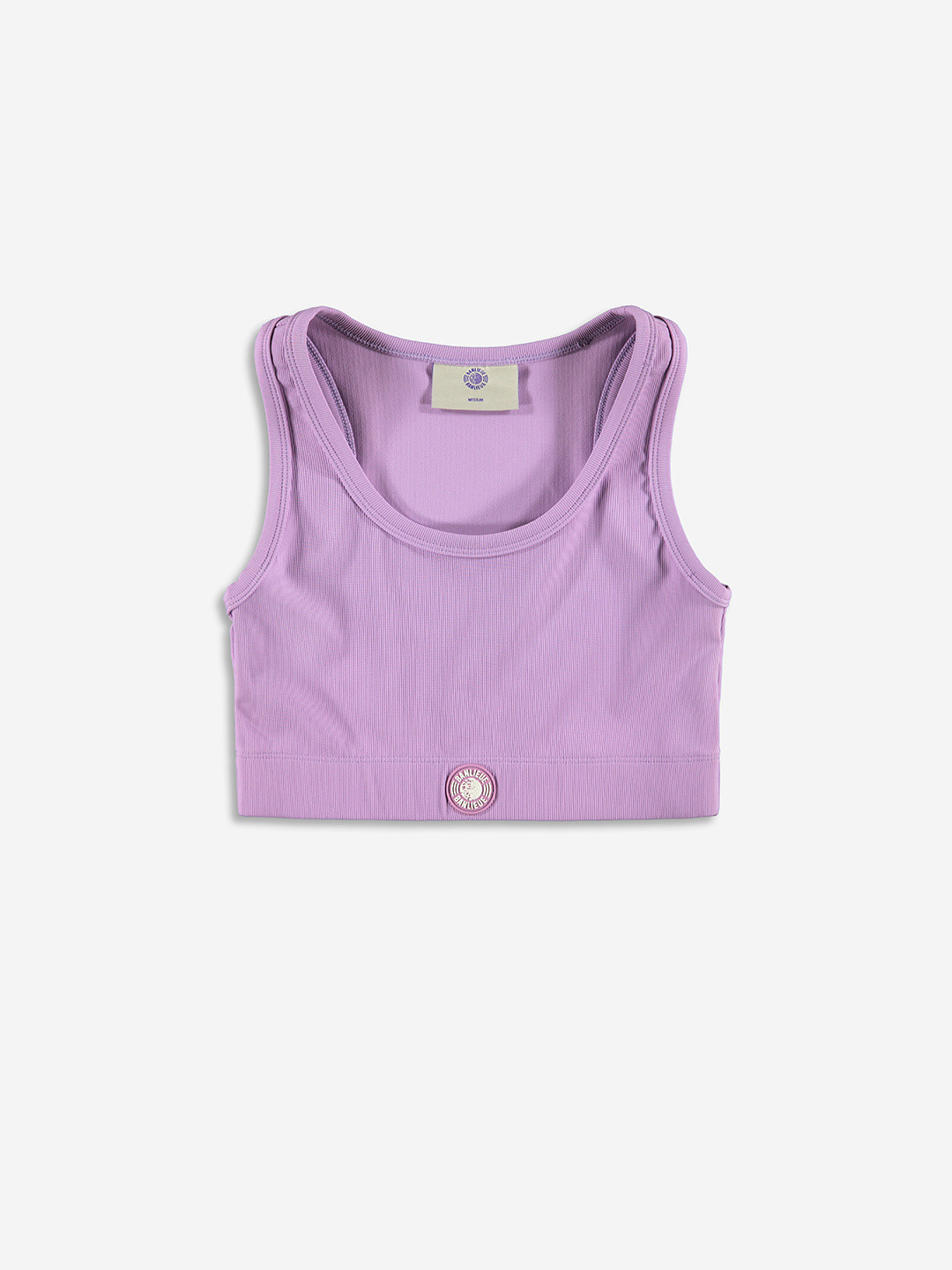 RIBBED SPORTY CROP TOP LILAS