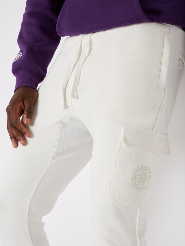 TONAL CARGO SWEATPANTS WHITE