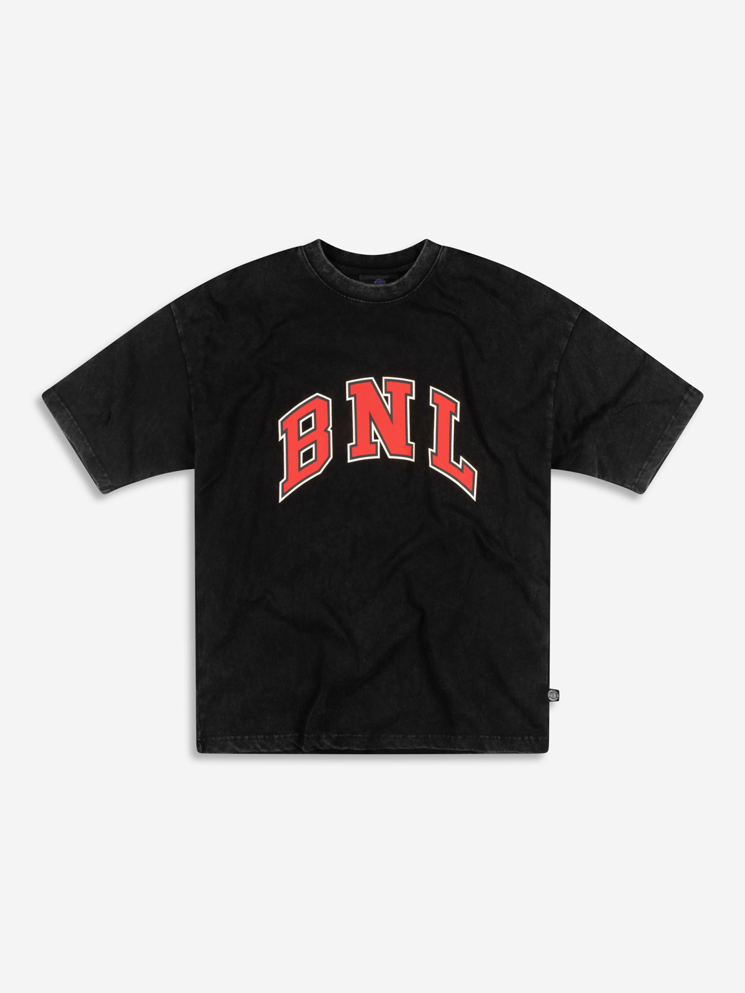 COLLEGE GRAPHIC T-SHIRT WASHED NOIR/ROUGE