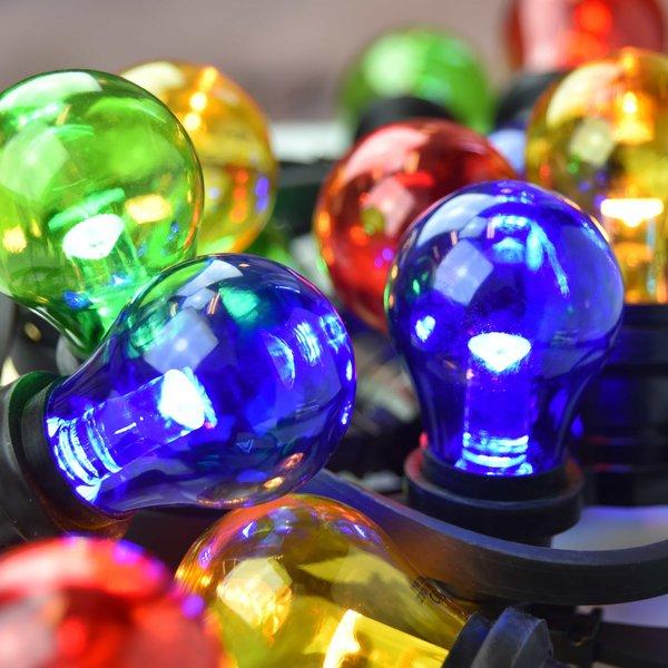 Complete prikkabel set met 4 kleuren LED lampen met grote kap