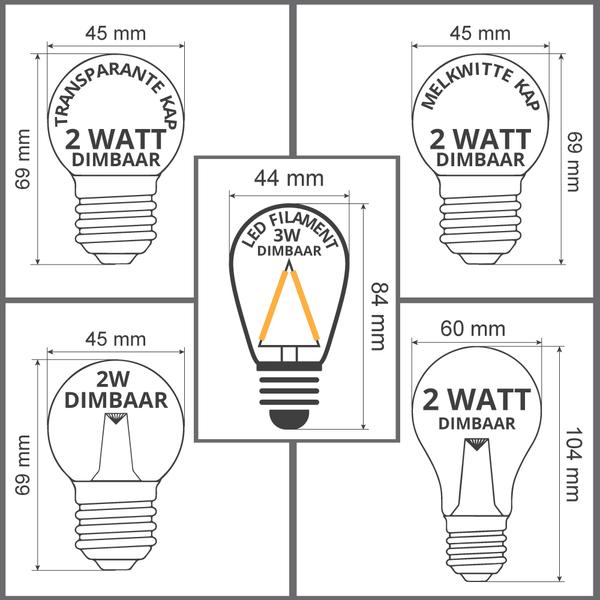 Dimbare LED lampen, warm wit, 2 watt & 3 watt