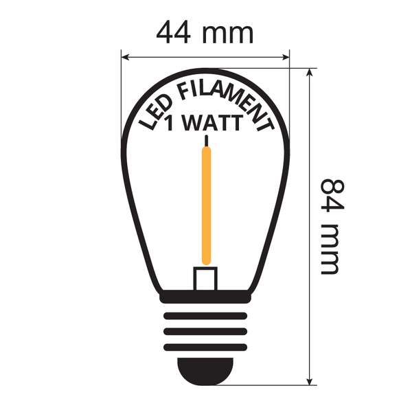 Prikkabel set met 1 watt LED filament lampen, 5 tot 100 meter