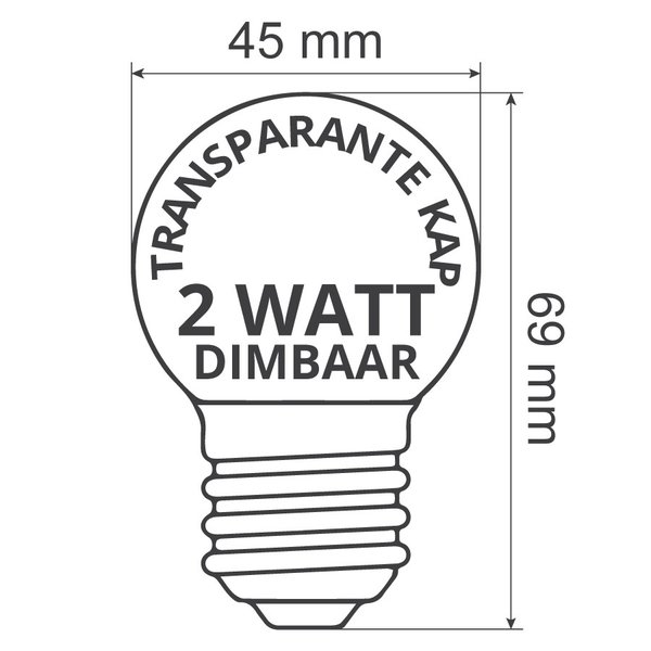 Prikkabel set met dimbare LED lampen met LEDs in bodem, 5 tot 100 meter