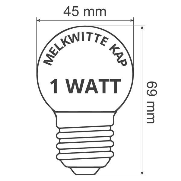 Prikkabel set met dimbare LED lampen met melkwitte kap, 5 tot 100 meter
