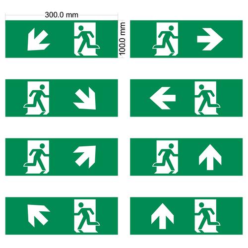 Pictogrammen set voor opbouw noodverlichtingarmaturen