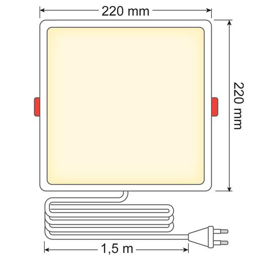 LED Downlight vierkant - 18 watt - 220 x 220mm