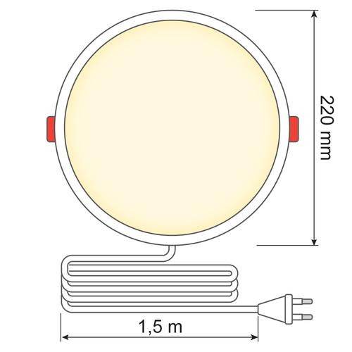 LED Downlight rond - 18 watt - Ø220mm