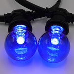1 watt, blauw, blauwe grote transparante kap Ø60