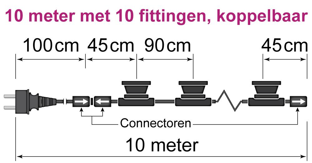 prikkabel van 10 meter met 10 fittingen, koppelbaar