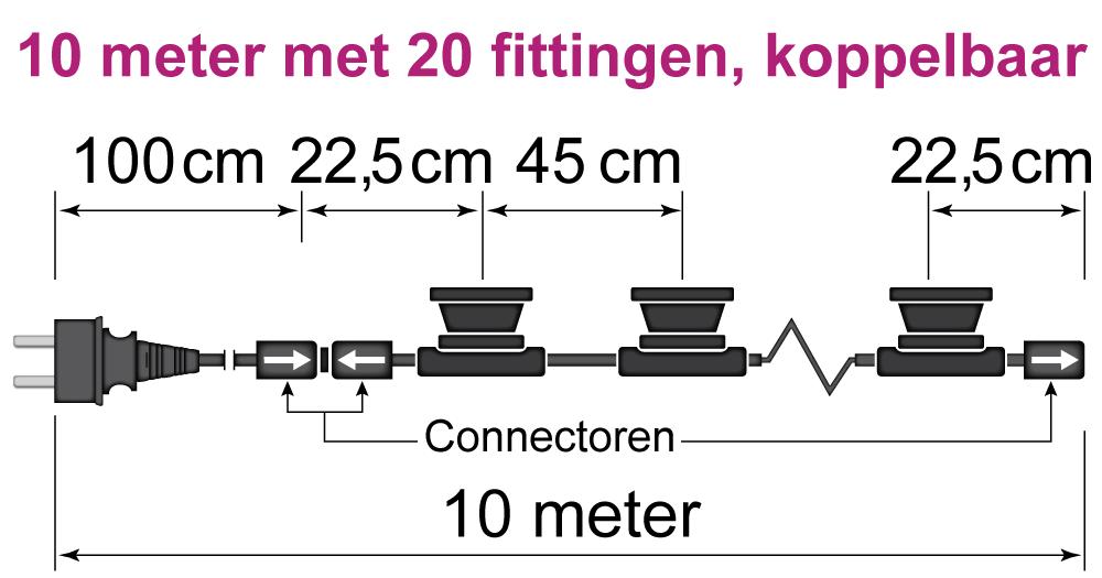 prikkabel van 10 meter met 20 fittingen, koppelbaar