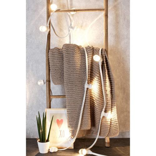 Prikkabel set met LED lampen met melkwitte kap, 10 tot 50 meter met witte prikkabel
