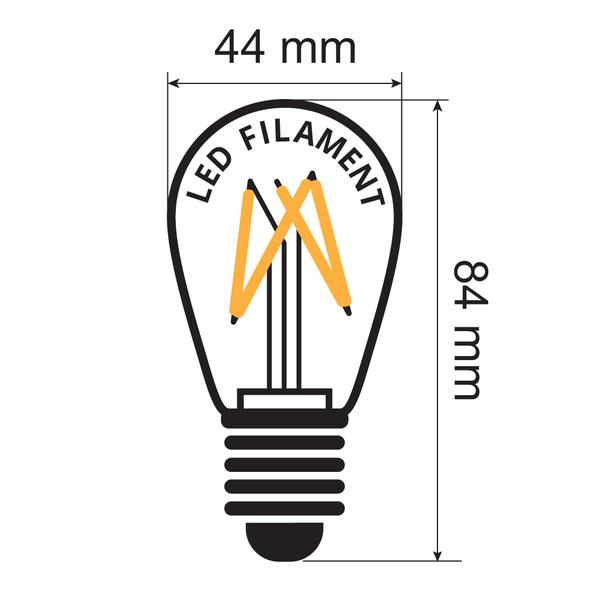 Prikkabel set met 3,5 watt, dimbare LED filament lampen, 5 tot 100 meter