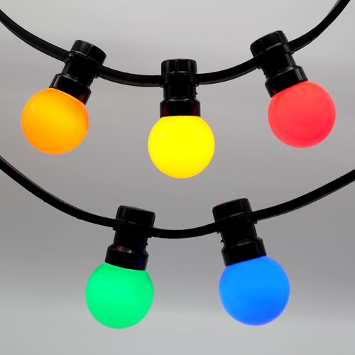 Lichtsnoer met vastgelijmde priklampen - mix van 5 kleuren