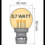 Lichtsnoer met vastgelijmde priklampen (geen E27 fitting) - 0,7W LEDs op lange stokjes