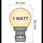 Lichtsnoer met vastgelijmde priklampen (geen E27 fitting) - 1W melkwitte kap