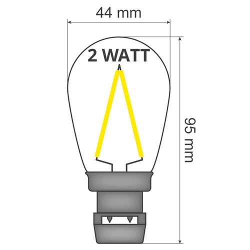 Priklamp - 2W filament, dimbaar (geen E27 fitting)