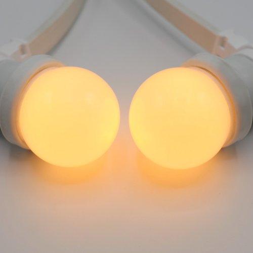Prikkabel set met LED lampen met melkwitte kap, met witte prikkabel