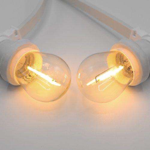 Prikkabel set met 1 watt LED filament lampen, met witte prikkabel