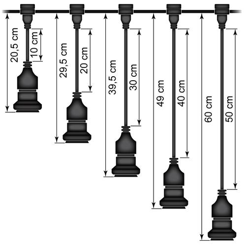 Hangende fitting (zwart) - zelfmontage (excl. lamp)
