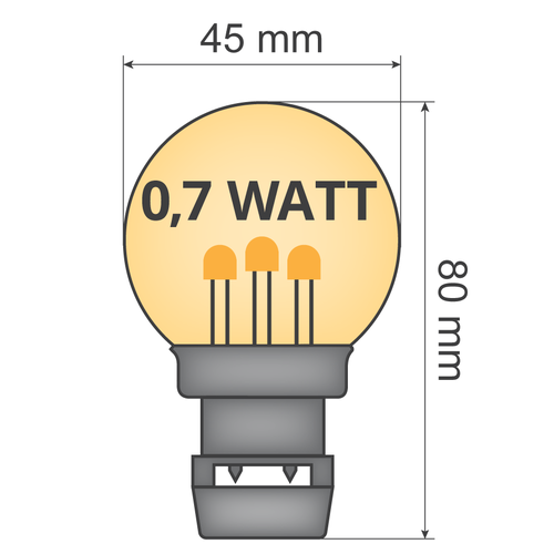 Priklamp - 0,7W warm wit op stokjes (geen E27 fitting)