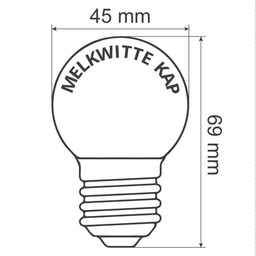 Warm witte lampen met melkwitte kap, dimbaar, Ø45 - 2 watt (2650K)