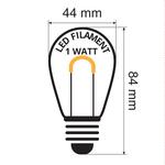 Warm witte filament lampen, U-vorm, dimbaar - 1 watt