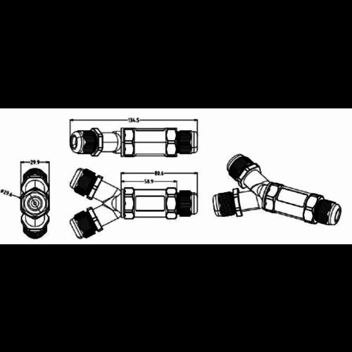 Waterproof connector (5 pin Y vorm) - niet geschikt voor prikkabels