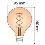 5W DNA spiraal lamp XL, 1800K, amber glas Ø95 - dimbaar